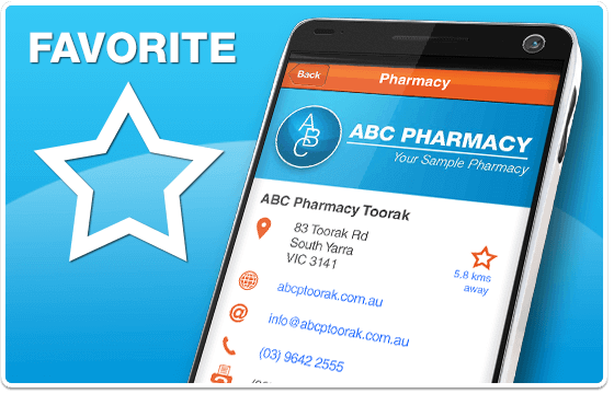 MedAdvisor provides one-tap access to the details of your favourite pharmacy
